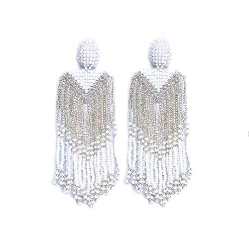 Royalbeier White Beaded Earrings Oversized Handmade Seed Beaded Drop Earrings Long Beaded Navajo Indian Dangle Earrings for Women Ladies