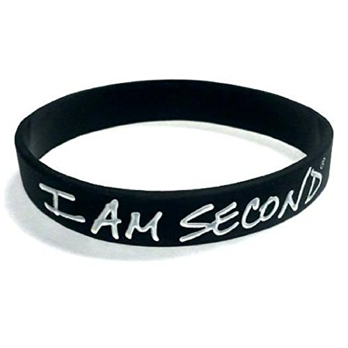 Wristbands 3 Pack Bracelet Band - 3 - I Am Second Black and White Silicone Wristband Bracelet