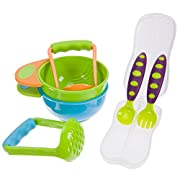 BabieB Mash and Serve Bowl Set to Make Homemade Baby Food w/toddler spoon fork utensil w/travel case included