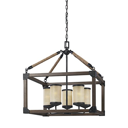 "Sea Gull Lighting 3113305-846 Dunning Five-Light Chandelier with Creme Parchment Glass Shades, Stardust Finish, 22"" x 22"" x 25.13"""
