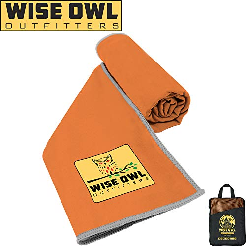 Wise Owl Outfitters Camping Towel - Ultra Soft Compact Quick Dry Microfiber Best Fitness Beach Hiking Yoga Travel Sports Backpacking & The Gym Fast Drying, Free Bonus Washcloth Hand Towel - LG Orange