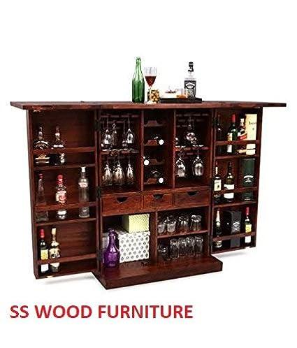 SS WOOD Furniture Altavista Diamond Bar Cabinet (Teak Finish)