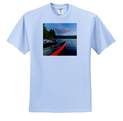 3dRose Danita Delimont - Lakes - A Canoe On The Shore Of Bald Mountain Pond at Sunrise. Maine. - T-Shirts - Light Blue Infant Lap-Shoulder Tee (6M) (TS_259410_74) (6 Light Canoe)