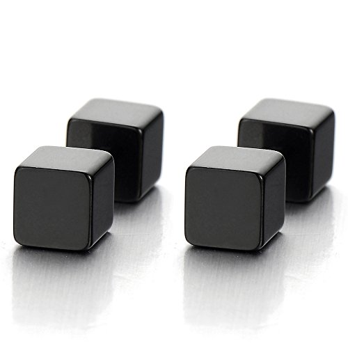 2 5MM Black Cube Barbell Earrings for Men - Mens Earrings Cube