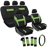Best General Edge Car Seat Covers - Motorup America 17PC Seat Cover Set - Black/Green Review
