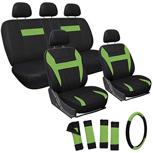 Motorup America Auto Seat Cover Full Set - Fits Select Vehicles Car Truck Van SUV - Green & Black by Motorup America