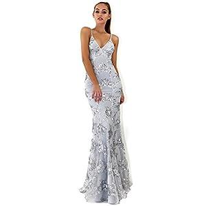 Lielisks Women Evening Dress V Neck Sequin Backless Formal Party Prom Long Gowns