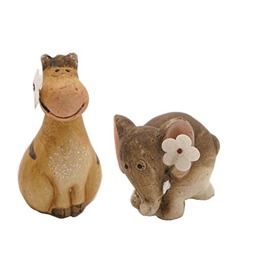 Zakka Adorable Ceramic Animals Statues with Little Flower...