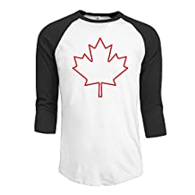 Men's Team Canada Canadian Maple Leaf Logo 3/4 Sleeve Baseball Tee Shirt Black (3 Colors)