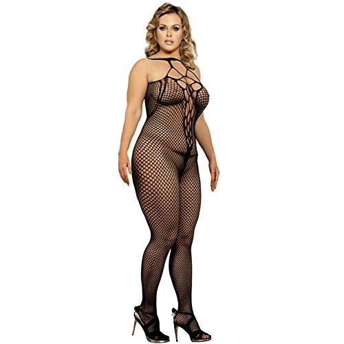 JW Lingerie for Women Fishnet Body Stocking Teddy Jumpsuit Lace Babydoll Sheer Bodysuit Nets Sock M Black