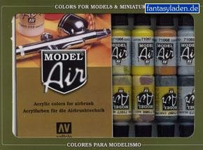 Basic Colors: Acrylic 16 Airbrush Paint Set for Model & Hobby (Vallejo 71178) Acrylic Model Paint