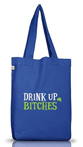 Saint Patrick´s Day St. Patricks Day Jutebeutel Stoffbeutel Earth Positive Drink Up Bitches Motiv Bright Blue