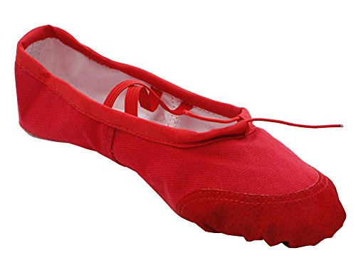 - staychicfashion Womens Canvas Ballet Slippers Practice Yoga Flat Shoes Split Belly Shoes(11, Red/Scarlet)