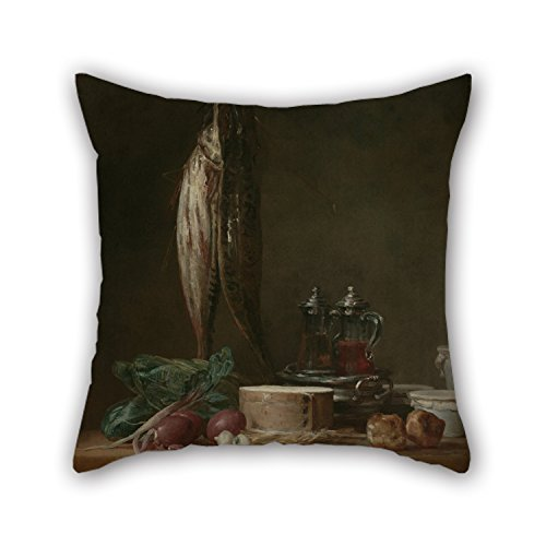 Furry Costumes Tumblr (Slimmingpiggy 16 X 16 Inches / 40 By 40 Cm Oil Painting Jean-Siméon Chardin (French - Still Life With Fish, Vegetables, Gougères, Pots, And Cruets On A Table Cushion Covers,twin Sides Is Fit For)
