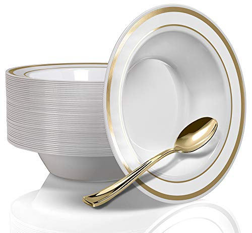 50 Gold Rim Plastic Bowls and 50 Gold Plastic Spoons - Service for 50 Disposable 12 Ounce Gold Bowls and Spoons for Weddings, Parties, Catering and Everyday Use