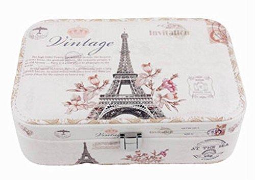 - [ Eiffel Tower ] Jewelry Box Jewelry Organizer Portable Ornaments Storage Case
