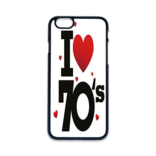 Phone Case Compatible with iPhone5 iPhone5s 2D print Black edge,70s Party Decorations,The Seventies Icon with Big and Little Hearts Vintage Cute Typography Decorative,Red Black,Hard Plastic Phone Case]()
