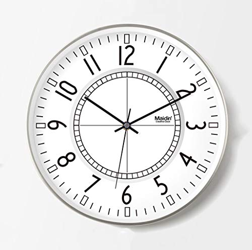 ZTMN Office Silent Wall Clock, Living Room Tea Shop Playground Practice Room The Mall Hotel Stationery Shop Wall Clock Metal Wall Clock 20-38CM Wall Clock (Size : 33 - Hotel Stationery