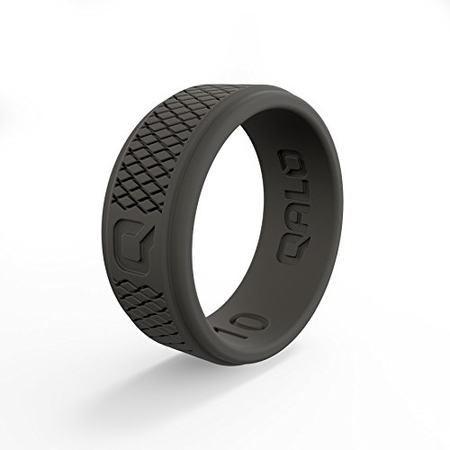 QALO Men's Functional Silicone Ring, Q2X Step Edge, Dark Grey Crosshatch, Size 10 by QALO