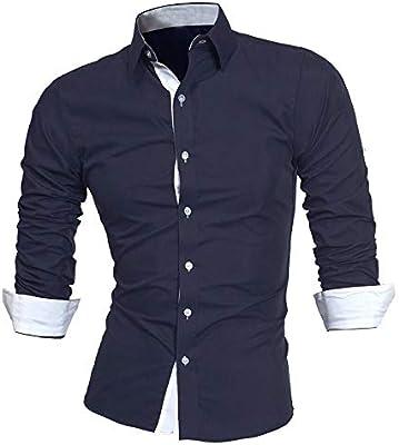 YFSLC-Studio Camisa De Manga Larga Hombre,Azul Oscuro, Camisa De Hombre De Negocios Formal Casual Solid Slim Fit Camisa De Vestir De Manga Larga Top Cómodos Blusa Vestido,M: Amazon.es: Deportes y aire libre