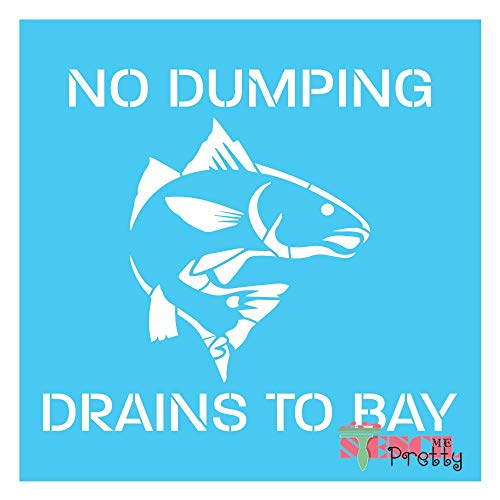 Standard Brilliant Blue Color Material Stencil - No Dumping Drains to Bay Template with Fish-M (14