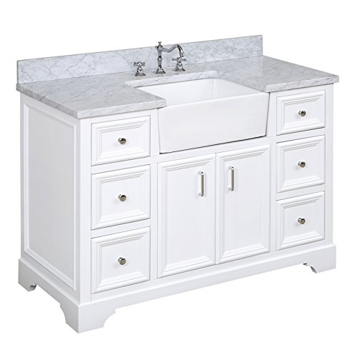 Caesar Bathroom Vanity - Zelda 48-inch Bathroom Vanity (Carrara/White): Includes a Carrara Marble Countertop, White Cabinet with Soft Close Doors & Drawers, and White Ceramic Farmhouse Apron Sink