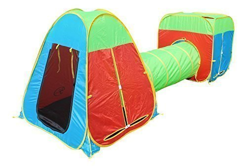 G3Elite Kids Play Tent 3 Piece Pop Up Set Foldable with Attachable Tunnel and Carry Case Indoor/Outdoor Boys/Girls Toddlers Bright Colorful Easy Set Up/Fold Up, Childrens (1 Yr Warranty)