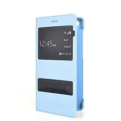 P8 mini Fundas,COOLKE [Azul] Flip View Cover PU Cuero Con Soporte Plegable y Ranura para tarjeta Cartera Carcasa Funda Tapa Case Cover para Huawei P8 lite Azul