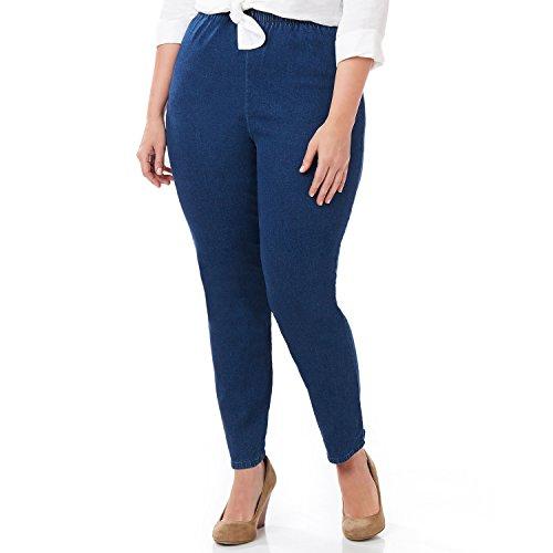 Symbidium Womens Plus-Size Easy Fit Elastic Waist Pull-on Essential Comfortable Jean Pant Legging