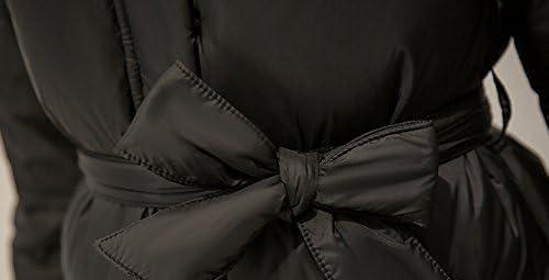 Enlishop Womens Elegant Thicken Fox Fur Midi Down Coat Jacket with Belt Grey