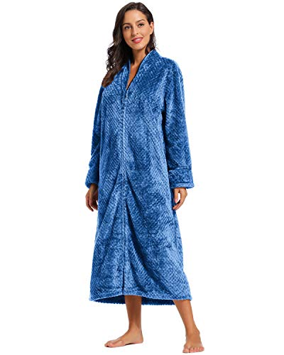 Foucome Womens Fleece Robe Long Soft Zip-Front Bathrobe with Two Side Pockets Blue M/Label XL (Fleece Bathrobe Zipper)