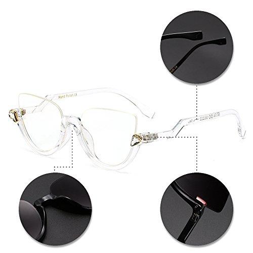 soleil 09 Nouveau vue Mode petites BOZEVON de style soleil de lunettes cerclées Femmes Style rondes Dames lunettes de demi Vintage Lunettes pwF8q