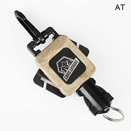 (CANIS SPORT INC Tactical Gear Retractor, 360 Degree Swivel Mount Extension Gear Keeper with Heavy Duty Split-Ring Quick Connect Snap Clip Mount Great for Tools, Flashlights, Gauges(A-TACS))