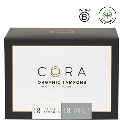 Cora Organic Cotton Tampons with Compact Applicator; Variety Pack - Light/Regular (36 Count)