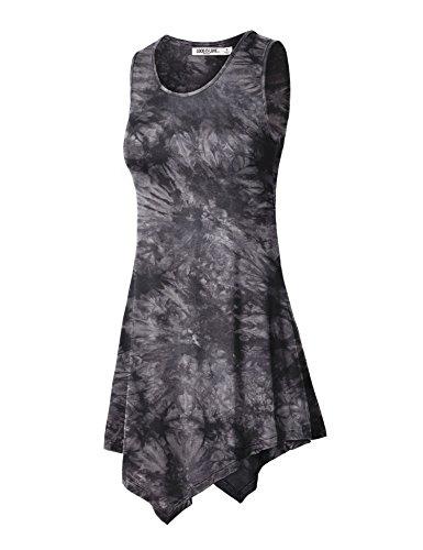 WT1065 Womens Sleeveless Tie-Dye Tunic Tank Top S BLACK