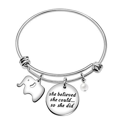 AGR8T Bangle Bracelet Best Friend Pearl Lucky Elephant Women Jewelry - She Believed She Could So She -
