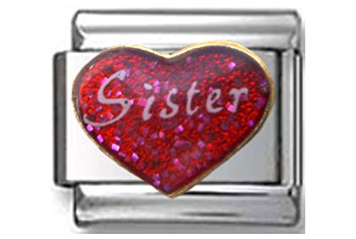 Stylysh Charms Sister Love RED Heart Enamel Italian 9mm Link FA045