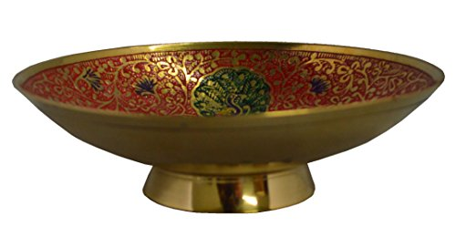 "Zap Impex Gold Plated Brass Decorative Round Fruit Bowl carving Work - Size- 9"" Beautiful Red Color Peacock design Kitchenware Gift"