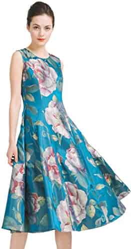 fdbf08da5777c3 VOA Women s Blue Floral Silk Scoop Neck Sleeveless Jacquard Midi Dress A6928