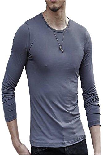 【 着るだけで 男気 】[エムシービーエム] 2枚セット Tシャツ Uネック Vネック ラウンドネック インナー カットソー クルーネック 七分 シャツ 袖 丈 肌着 部屋着 無地 メンズ ロンT ロングTシャツ 長袖 白 黒 現場シャツ