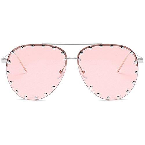 Aiweijia Sunglasses Rosa Retro Frame Female Fashion Male Sunglasses and Half Rivet qTwqHFrC