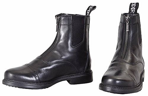TuffRider Children's Baroque Front Zip Paddock Boots with Metal Zipper, Black, 3