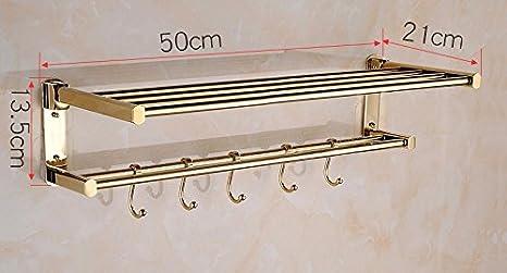 GBHNJ Rack De Toallas De Baño Plegable Color Oro 50 * 13,5 * 21: Amazon.es: Hogar