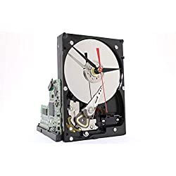 Original Black and Silver Desk Clock made from an upcycled Hard Drive. It's a medium sized hard drive clock with a circuit board stand. Modern Desk