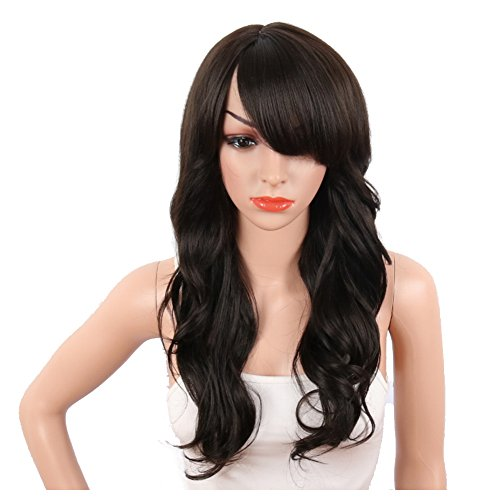 KRSI Sexy Brown Synthetic Wigs for Black Women Long Natural Wavy Full Synthetic Hair Wigs For Women Side Parting With Bangs Heat Friendly Replacement Wigs 24 Inches (Natural Brown #4) (Full Wig Synthetic)