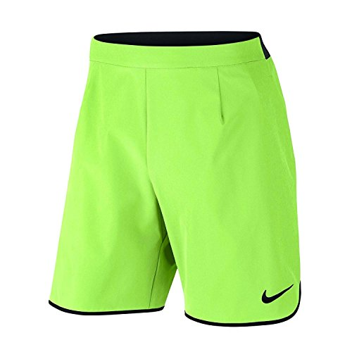Nike Men's Flex Gladiator 9 Inch Tennis Shorts (Ghost Green/Black, L) (Shorts Black Tennis Nike)