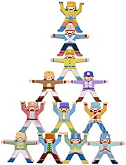 Wooden Stacking Games,Hercules Acrobatic Troupe Interlock Toys,Balancing Acrobatic Troupe Interlock Toy Gift,E