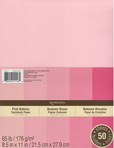 - Recollections Cardstock Paper, 8 1/2 X 11 Pink Buttons - 50 Sheets