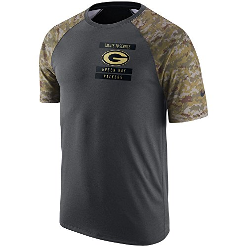 Nike Green Bay Packers Salute To Service Raglan Performance Anthracite Camo Shirt - Men's Large (To Males Bay)