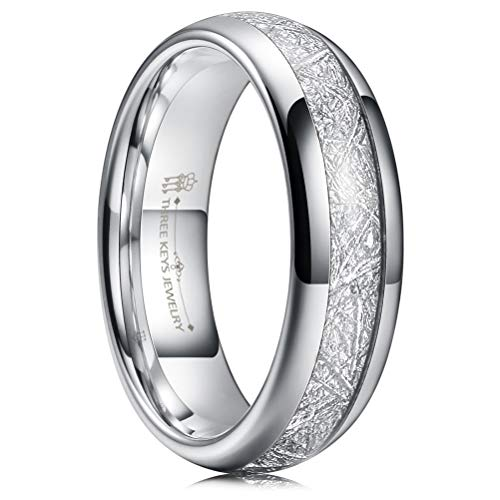 Silver Inlay Tungsten Ring - Three Keys 6mm Tungsten Wedding Ring for Men Domed Imitated Meteorite Inlay Polished Silver Mens Meteorite Wedding Band Engagement Ring Promise Ring Size 10